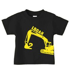 Personalized digger t-shirt, excavator birthday t-shirt for boys. $16.00, via Etsy.