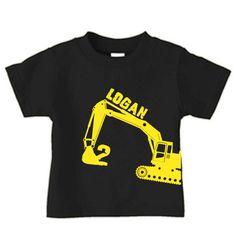 Personalized digger t-shirt, excavator birthday t-shirt for boys. $16.00, via Etsy.