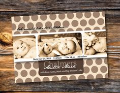 Baby Boy Birth Announcement  Newborn Card  by OrangeMonkeyShop, $12.00