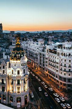 Gran Vía St. as seen from Cículo de Bellas Artes (Madrid, Spain) [OC]