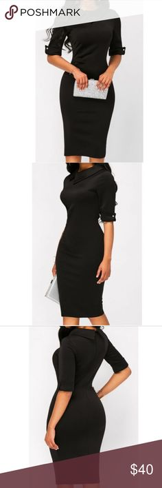 The Jackie, Black Lapel dress Elegant Lapel Dress, knee length black dress an updated  retro look. Polyester,cotton, spandex blend. 😊Offers welcome. Bundle and save. ❌ Sorry no trades. Dresses Mini