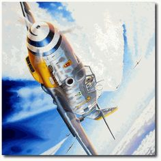 World War 2 pilot Paintings by troy white | Battle Over the Reich by Troy White (Me109)