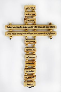 """Olive Wood Crucifix / Wall Cross adorned with the """"Our Father Prayer"""" (Spanish Small Version) from Jerusalem Hand Crafted by Artisans in Bethlehem (the heart of the holy land). An Ideal Religious Gift for Christmas or any other Christian Holiday. Our Father In Heaven, Heavenly Father, Prayer For Fathers, Home Protection, Wall Crosses, Jesus On The Cross, Religious Gifts, Crucifix, Hand Carved"""