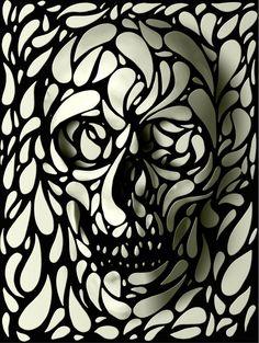 Ali Gulec. The Message. Decorative Skulls. Mixed Media.