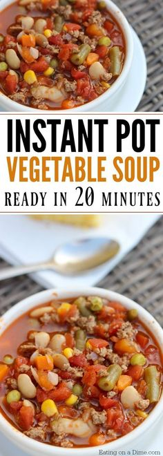 Here is an easy pressure cooker recipe. Quick and easy Instant Pot Beef Vegetable Soup Recipe. This pressure cooker Beef Vegetable Soup Recipe is ready in 20 minutes. It will be your new favorite Instant pot recipe! #beeffoodrecipes