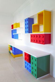 Lego Room desk shelves on order Lego bedroom desk shelves on c . Lego Room desk shelves on order lego bedroom desk shelves on behance Lego Room Decor, Room Decorations, Lego Theme Bedroom, Deco Lego, Kids Bedroom, Bedroom Decor, Room Kids, Lego Kids Rooms, Boy Bedrooms