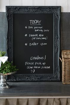 Ornate frame + blackboard paint = one mighty fine chalkboard, maybe add magnets to the back to use on fridge....