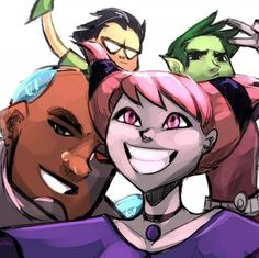 Beastboy and Jinx, with Robin and Beastboy in the back