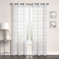 Newbury Embroidered Sheer Grommet Top Window Curtain Panel Pair