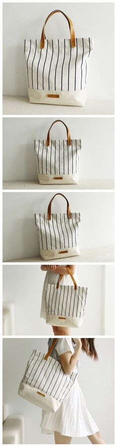 Handcrafted Canvas and Leather Casual Tote Bag Shopping Bag Handbag School Bag Daily Bag for Women 14005 --------------------------------- - 16oz waxed canvas - Cotton lining - Inside one zipper pocke