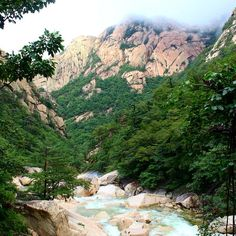 Mount Kumgang, the second-highest mountain in all of North Korea. If you find yourself here, don't lose the opportunity to climb to the top of the 1,638m peak as well as to visit the scenic waterfalls throughout the park. North Korea, Asia Travel, Waterfalls, Climbing, Grand Canyon, Opportunity, Two By Two, Mountain, River