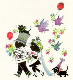 Bride and groom - Jip & Janneke Children's Book Illustration, Character Illustration, Dachshund, Schmidt, S Pic, Vintage Prints, Childrens Books, Art For Kids, Print Design