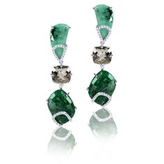 Rose Cut Emerald and Faceted Prasiolite Earrings with Diamonds in Recycled 18K Gold and Sterling Silver | Arya Esha