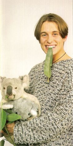 """sleepinginyourflowerbed: """"This is a picture of Mark Owen after he was taken hostage by a koala. In during a routine trip to Australia, Take That's Mark Owen was captured by this koala when it. Mark Owen, Fangirl, 90s Hair, Take That, Oversized Sweaters, Night Shot, Memories, My Favorite Things"""