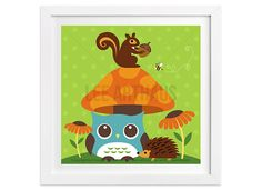 118 Owl Wall Art  Owl and Squirrel on Top of by leearthaus on Etsy