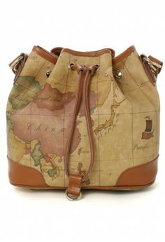 Classic Map Print Bucket Bag