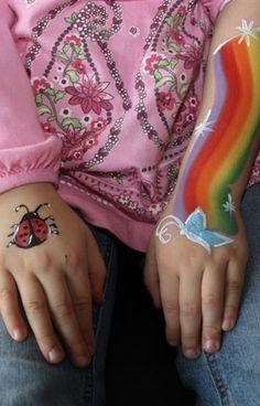 DIY Ladybug + Rainbow + Butterfly Face Paint #DIY #CheekArt #Butterflies #LadyBugs #Rainbows #FacePainting #Birthdays #Birthday #Parties #Party