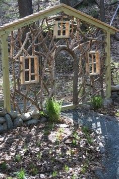 wood be so cute for the girls Secret Garden area !this is so cool Enchanting garden entrance ~ Garden in the Woods. I need this in a mini for the fairy and gnome garden entrance ! Garden Entrance, Garden Gates, House Entrance, Garden Archway, Garden Arbor, Diy Garden, Dream Garden, Gnome Garden, Garden Wall Art