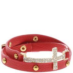 Women's Cross Wrap Bracelet - Red - $6.99