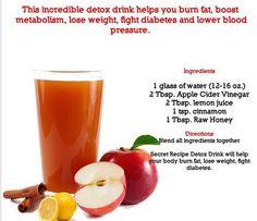 Detox drink recipe with apple cider vinegar.