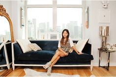 """Frances Kwon's Apartment- """"My gold mirror is from a tiny mirror store in New Jersey. My coffee table is by Isamu Noguchi—a classic design piece!"""""""