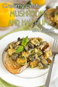 Creamy pesto mushrooms and halloumi on toast - quick and easy to make, and sooo yummy! Serve it on toast for the perfect vegetarian brunch. Vegetarian Brunch, Tasty Vegetarian Recipes, Vegetarian Main Dishes, Savoury Recipes, Easy Recipes, Sugar Free Breakfast, Creamy Pesto, Pesto Recipe, Halloumi