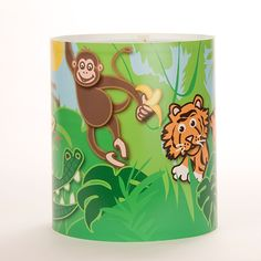 Shop for Medium Childrens Lampshade Jungle Scene By Raw Design. Starting from Compare live & historic home lighting and lamp prices. Ceiling Light Shades, Floor Lamp Shades, Ceiling Lights, Jungle Bedroom, Kids Bedroom, Childrens Bedroom, Jungle Scene, Kids Lighting, Bedroom Accessories