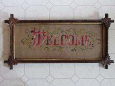 c1870s Victorian Motto Sampler, Welcome, Leaf Frame
