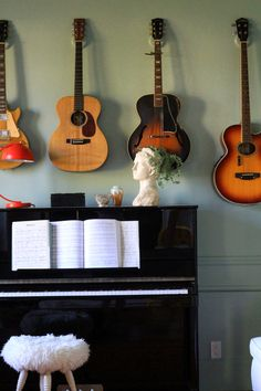 hanging guitars on the wall. look like they are floating. how to tutorial for the hooks
