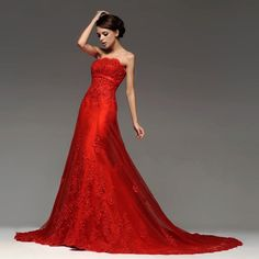 Strapless red lace wedding dress empire extremely hot