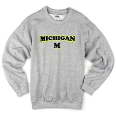 Michigan M sweatshirt from teeshope.com This sweatshirt is Made To Order, one by one printed so we can control the quality.