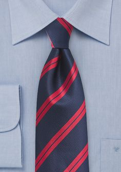 Trendy Repp Tie in Classic Reds and Blues - Whistle all the way home after an adventurous night out on the town in this classic blue and red striped tie. Blue Ties, Blue Bow, Red And Blue, Striped Ties, Dark Blue, Baby Blue Sweater, Blue Suit Men, Luxury Ties, Formal Shirts For Men