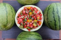 Rainbow Summer Watermelon Salsa We all know what delicious fruit is in season during summer, Watermelon! I personally love watermelon and never get sick of it, this delicious salsa is a great idea for another way to prepare watermelon. It's very refreshing, sweet and spicy at the same time. It's ideal for a hot summer day when you have friends over, they will all be wanting more!