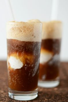 Root Beer Floats with Vodka & Coconut Ice-Cream