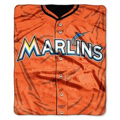 Miami Marlins MLB Royal Plush Raschel Blanket (Jersey Series) (50in x 60in)
