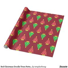 Red Christmas Doodle Trees Pattern Wrapping Paper