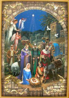 Liz Goodrick Dillon Christmas Nativity Manger Jesus Mary Joseph Greeting Card