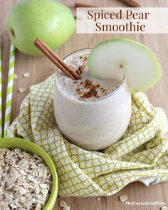 Spiced Pear Smoothie from www.thecasualcraftlete.com For this recipe you will need:  1 pear cored and diced, half of a banana, 1/4 cup oats (I used old fashioned oats), 1/2 tsp ground cinnamon, 1/2 cup plain, nonfat Greek yogurt, 3/4 cup milk (any kind), 1 TBS honey and 5-6 ice cubes.  Just mix all the ingredients in a high speed blender and blend until smooth.  Serve immediately.