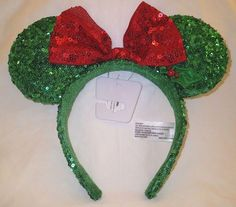 fd805b9b4196 Disney Minnie Mouse Ears Red Green Sequin Headband w  Bow Christmas Holiday  Hat