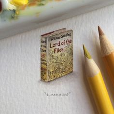 "Day 18/100 (5/25 #tinytuesdays) : ""Lord of the Flies"" by William Golding. Original cover art by Anthony Gross. 17 x 27 mm. ⛅️ Lord of the Flies is a 1954 dystopian novel by Nobel Prize-winning English author William Golding about a group of British boys stuck on an uninhabited island who try to govern themselves with disastrous results."
