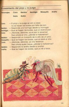 Libros de Primaria de los 80's: El casamiento del piojo y la pulga - Español Ejercicios 3er grado