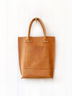 Natural Cognac Colored Leather Shopper with Open Pouch #KP17003