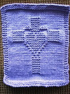 Easter Knitting Patterns - Quick Knitting Patterns - Easter Knitting Patterns Free knitting pattern for Heart and Cross motif wash cloth – This cross motif by Kathleen Brundige was created for a washcloth but can be used for other projects. Knitted Dishcloth Patterns Free, Knitting Squares, Knitted Washcloths, Crochet Dishcloths, Loom Knitting, Knitting Stitches, Knitting Patterns Free, Free Knitting, Crochet Patterns