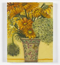 """""""Vase of Yellow Flowers and Seed Heads"""" From my new series of smaller paintings, to be exhibited the 16/17 November -  susan@whitcombeassocs.co.uk or tel 020 7736 5605 stating your preferred time. #contemporaryart"""