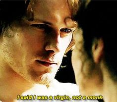"""Claire: """"Where did you learn to kiss like that?"""" Jamie: """"I said I was a virgin, not a monk."""" (gif)"""
