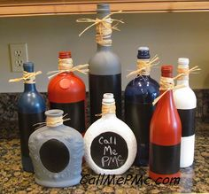 Chalkboard - chalkboard bottle project - Call Me PMc: Chalkboard Painted Bottles
