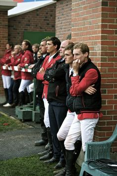 Team Belgium and Team Germany watch in anticipation as Hans-Dieter Dreher, Francois Mathy Jr. & Penelope Leprevost jumped for the 2013 BMO Nations Cup title (Team Germany, Belgium and France jumped off for the winning title), Spruce Meadows