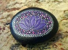 Hand Painted Lotus Flower Mandala Stone by MandalaMindStudio