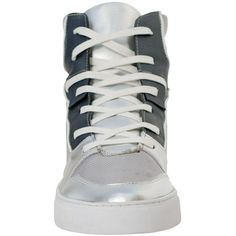 Celine Silver Two Tone Patent Leather High Top Sneakers (€51) ❤ liked on Polyvore featuring shoes, sneakers, hi tops, two-tone shoes, silver high top shoes, patent leather high top sneakers and high top shoes