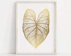 Fine Art Prints Printable Wall Art for by ThePeoplesPrints Gold Leaf Art, Gold Wall Art, Leaf Wall Art, Gold Art, Botanical Wall Art, Botanical Prints, Botanical Drawings, Printable Wall Art, Fine Art Paper